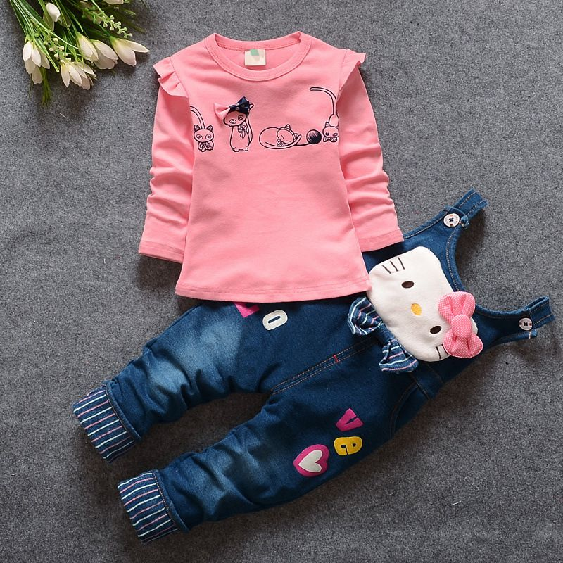 1fb0ae4a9 2017 Hot Autumn Baby Girls Clothes Children Cotton Overalls Pants + ...