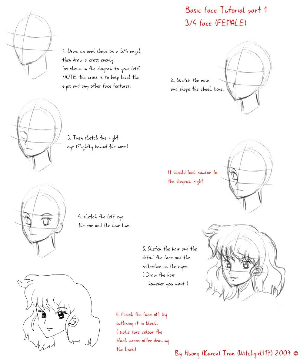 3 4 Angle Face Tutorial By Coralinecaroline On Deviantart Tutorial Face Anime Drawings Tutorials
