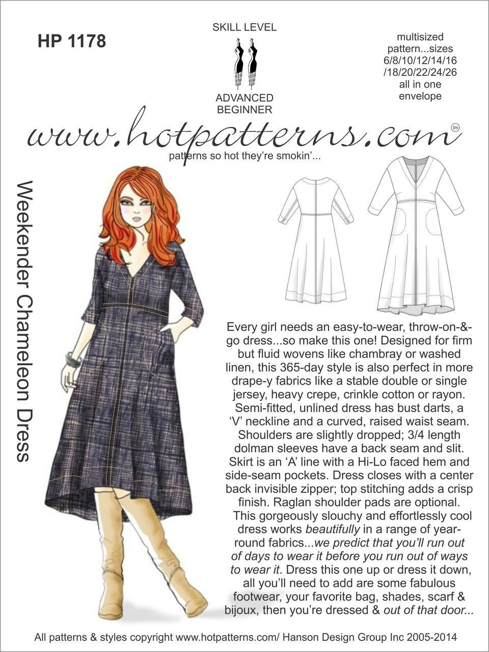 Hot Patterns 1178 - Weekender Chameleon Dress | sewing | Pinterest ...