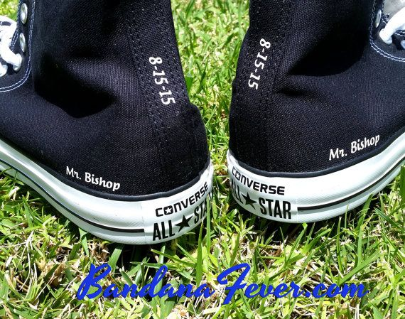 Custom Wedding Converse All Star Hi Top Black Sides + Tongues - White Font  - Personalized Mr. Wedding Shoes - Groom Shoes - Mr and Mrs Shoes - Wedding  Gifts ... d57b943ad