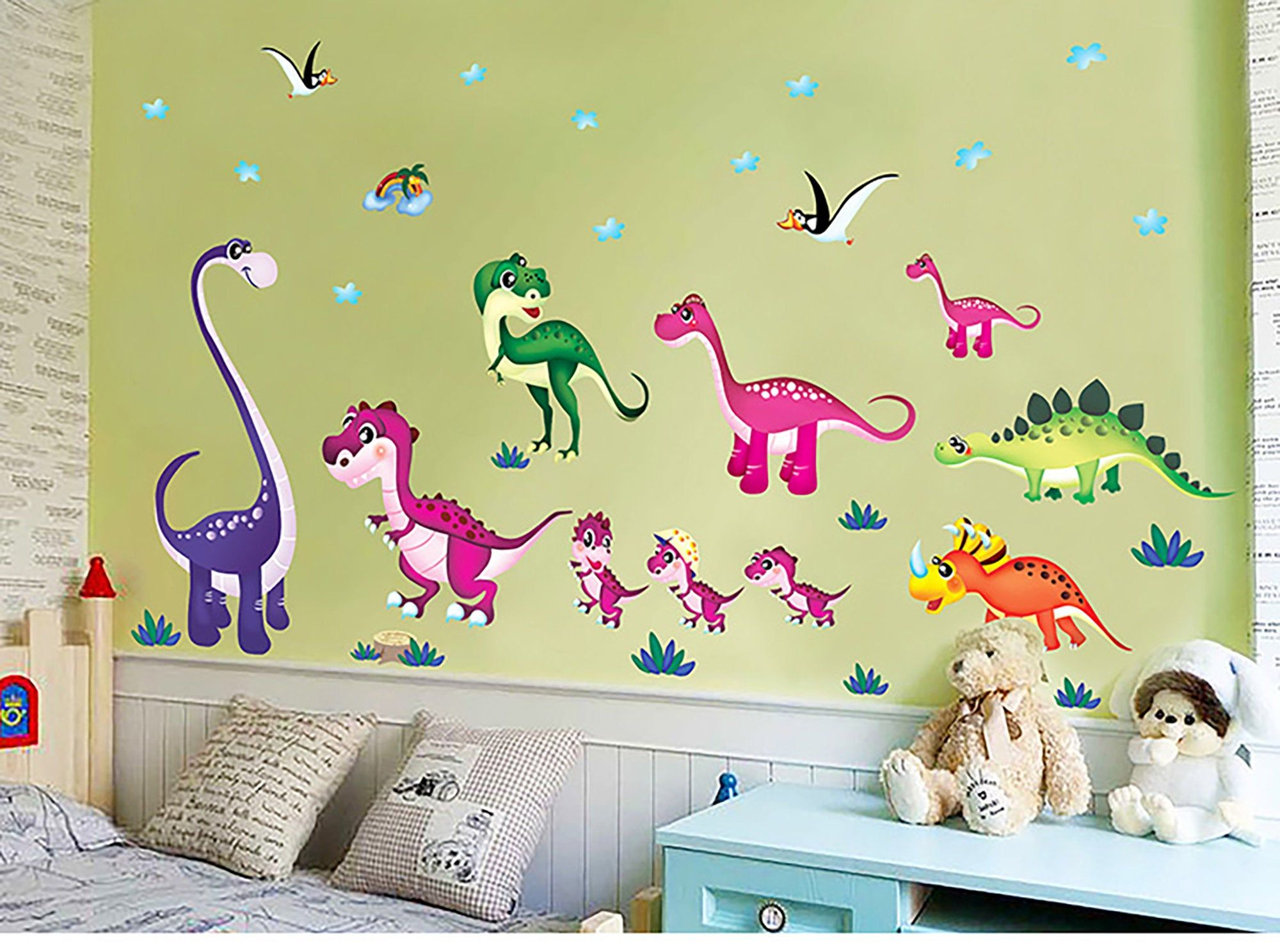 Dinosaurs Were Playing In The Grass Wall Sticker Baby Room