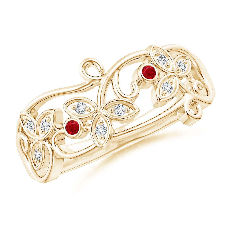 Angara Ruby Diamond Catherine Vintage Ring in 14k White Gold RFGAcoi2y