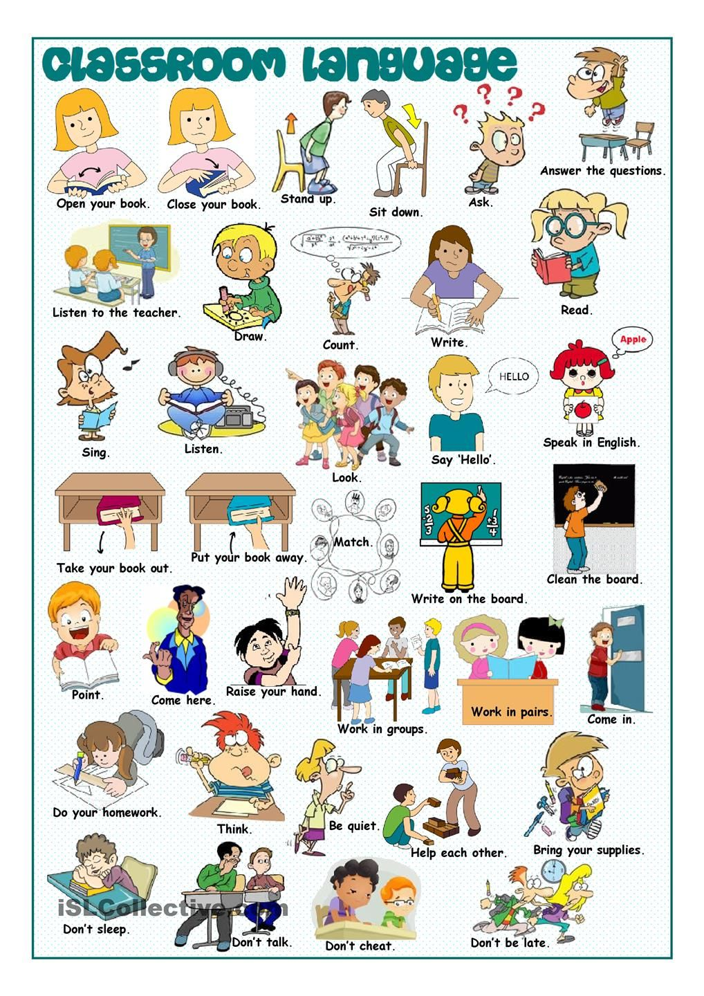 Classroom Language Picture Dictionary … | Pinteres…