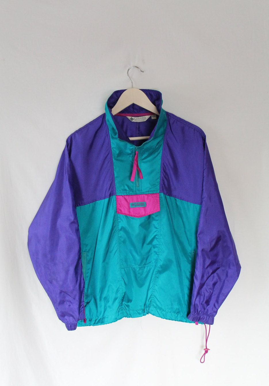90s COLUMBIA SPORTWEAR Windbreaker // Teal Pink Purple // Chillwave Vaporwave Aesthetic Gear ...