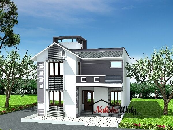 60475bhk duplex house design house elevation indian sloping pinterest front - Duplex home elevation design photos ...