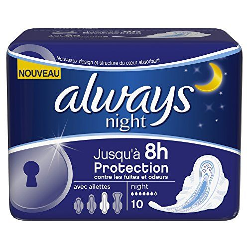 Always Serviettes Hygiéniques Night avec Ailettes X 10 – Lot de 4: Jusqu'à 8h de protection et de discretion Super absorbant Neutralisation…