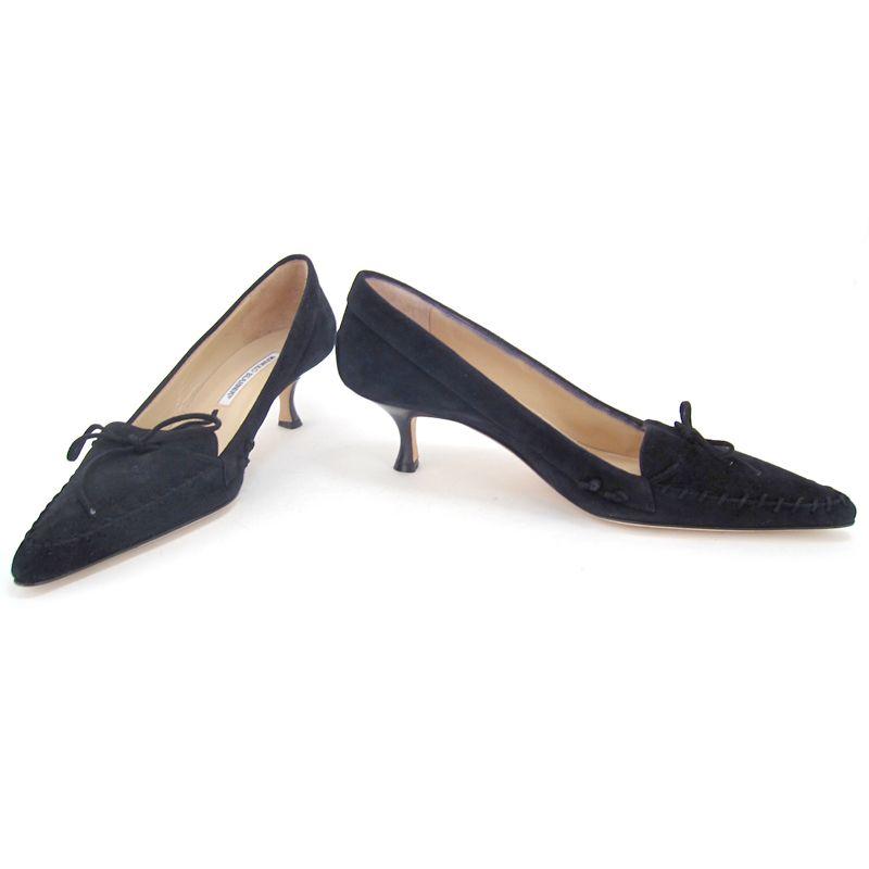 Manolo Blahnik Black Suede Stitch And Bow Kitten Heels With Images Kitten Heel Shoes Heels Kitten Heels