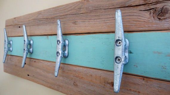 Coastal Towel Racks For Bathroom: Nautical Towel Rack Hooks In Minty Green By
