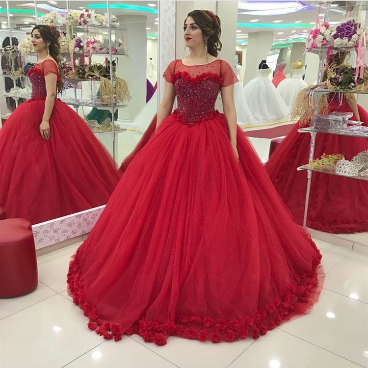 Corset Short Sleeves Red Bridal Dresses 2018 Embroidery Flowers