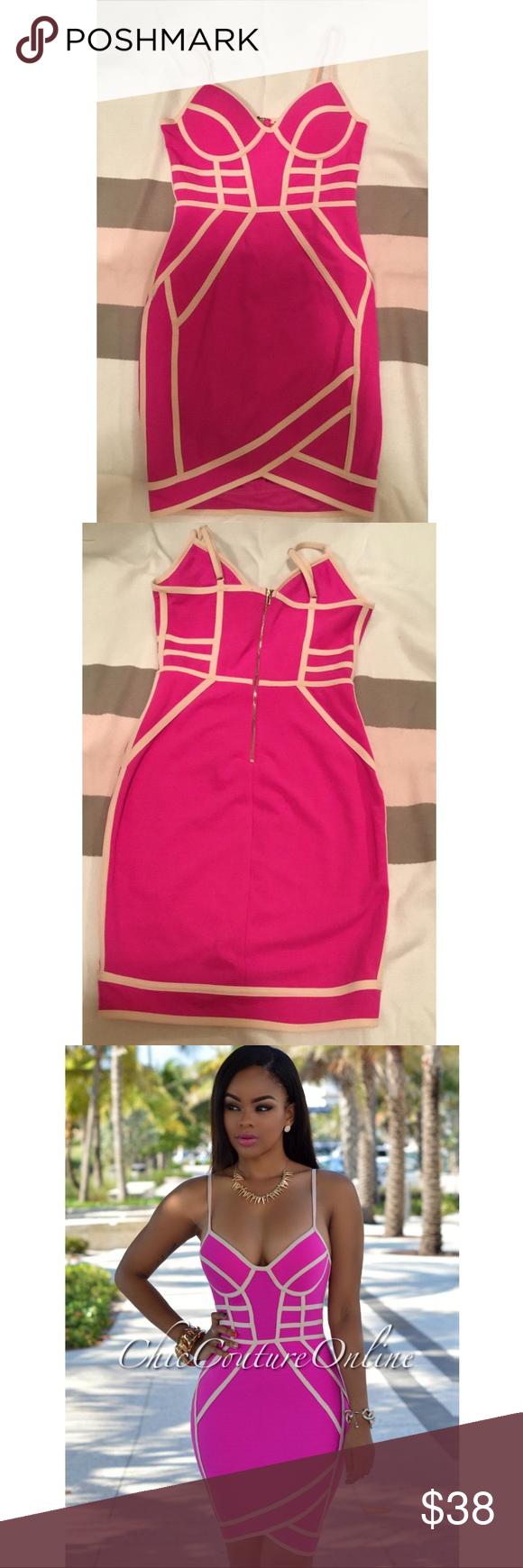 Pink and beige trim padded dress in my posh picks pinterest