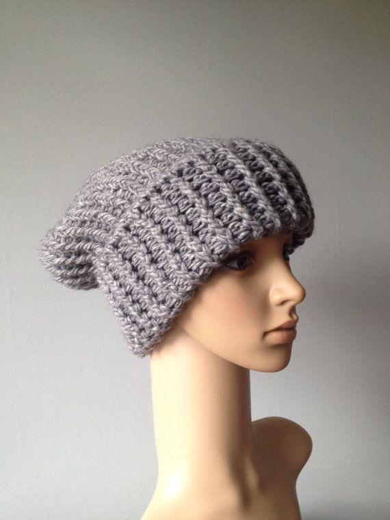 Grey hand knit fashion slouch hat Chunky by HandmadeBySusannah Knitted Hat/...