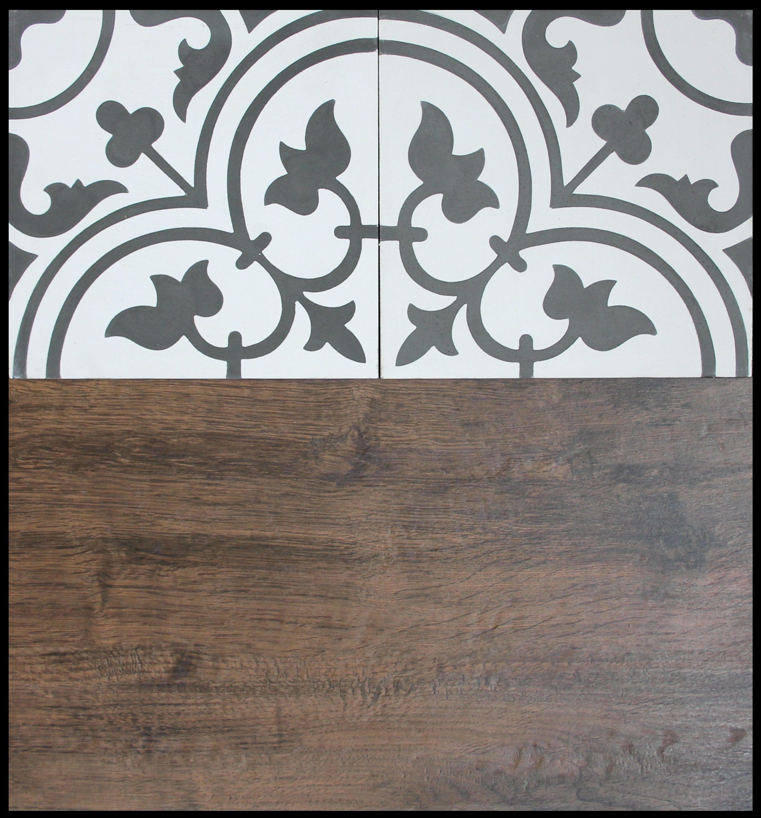 Czarnobiałe płytki cementowe o klasycznym wzorze Frank