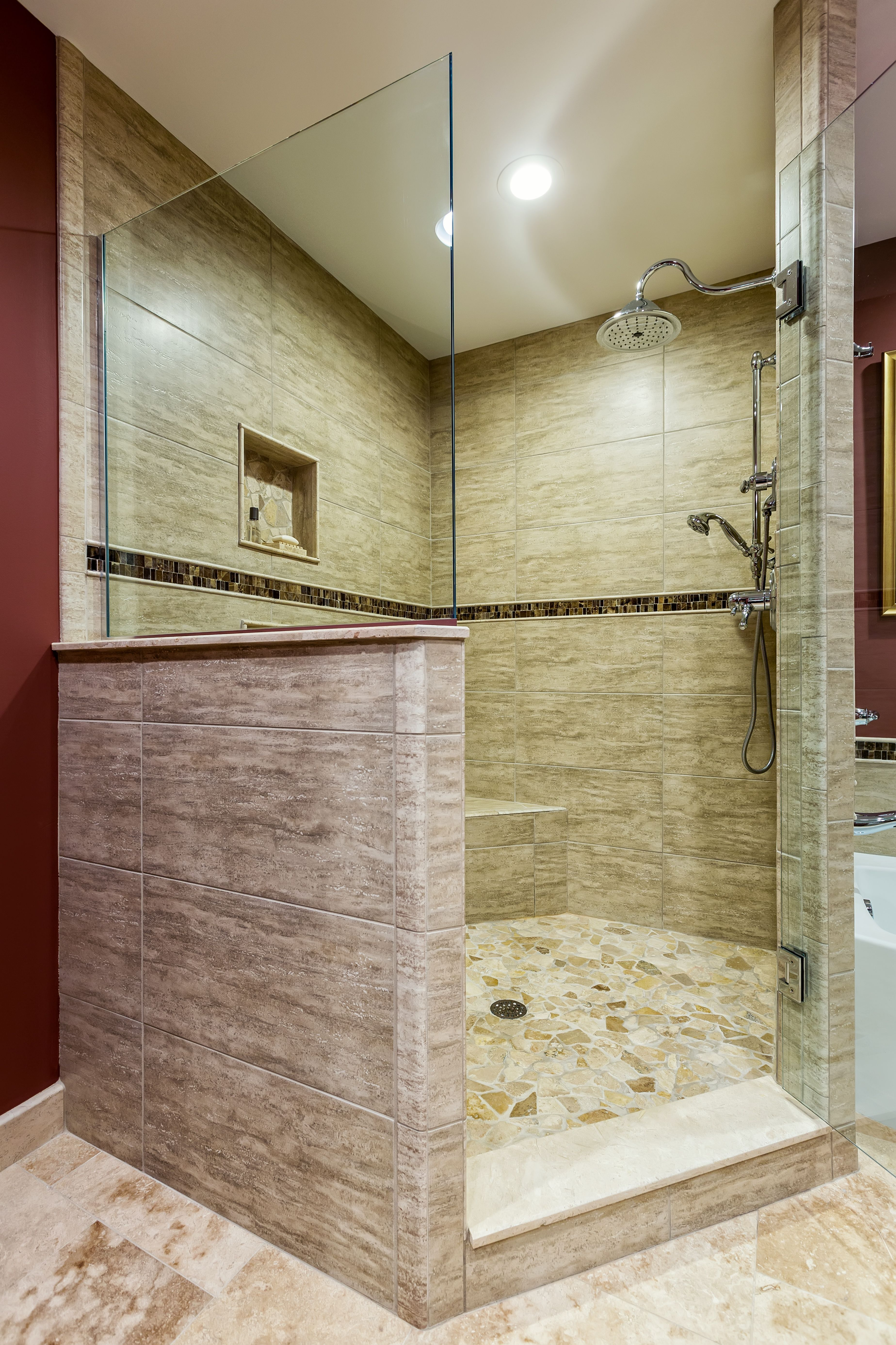 Romantic shower design - Travertine Cobblestone Floor On The Shower And Large Porcelain Tile On The Wall Create A Beautiful