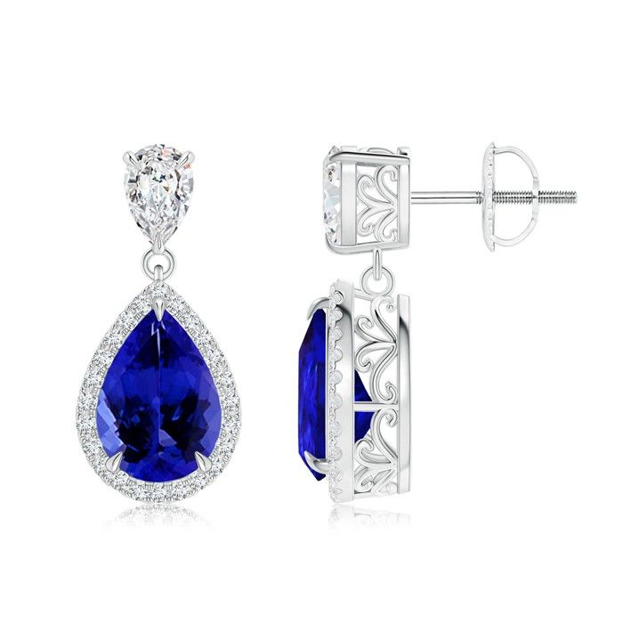 Angara Pear Drop Tanzanite Diamond Halo Vintage Pendant in Platinum qvFV8J