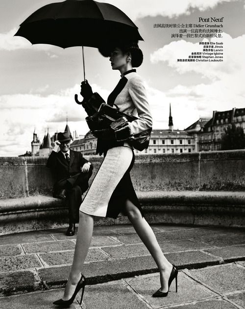 Miao Bin Si Takes Paris in Classic Fashion for Harper's Bazaar China   October 2012  Image from fashiongonerogue.com  (via The ART of Lovely)