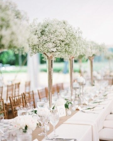 White Baby's Breath, Peonies, and Roses Centerpieces | Martha Stewart Weddings