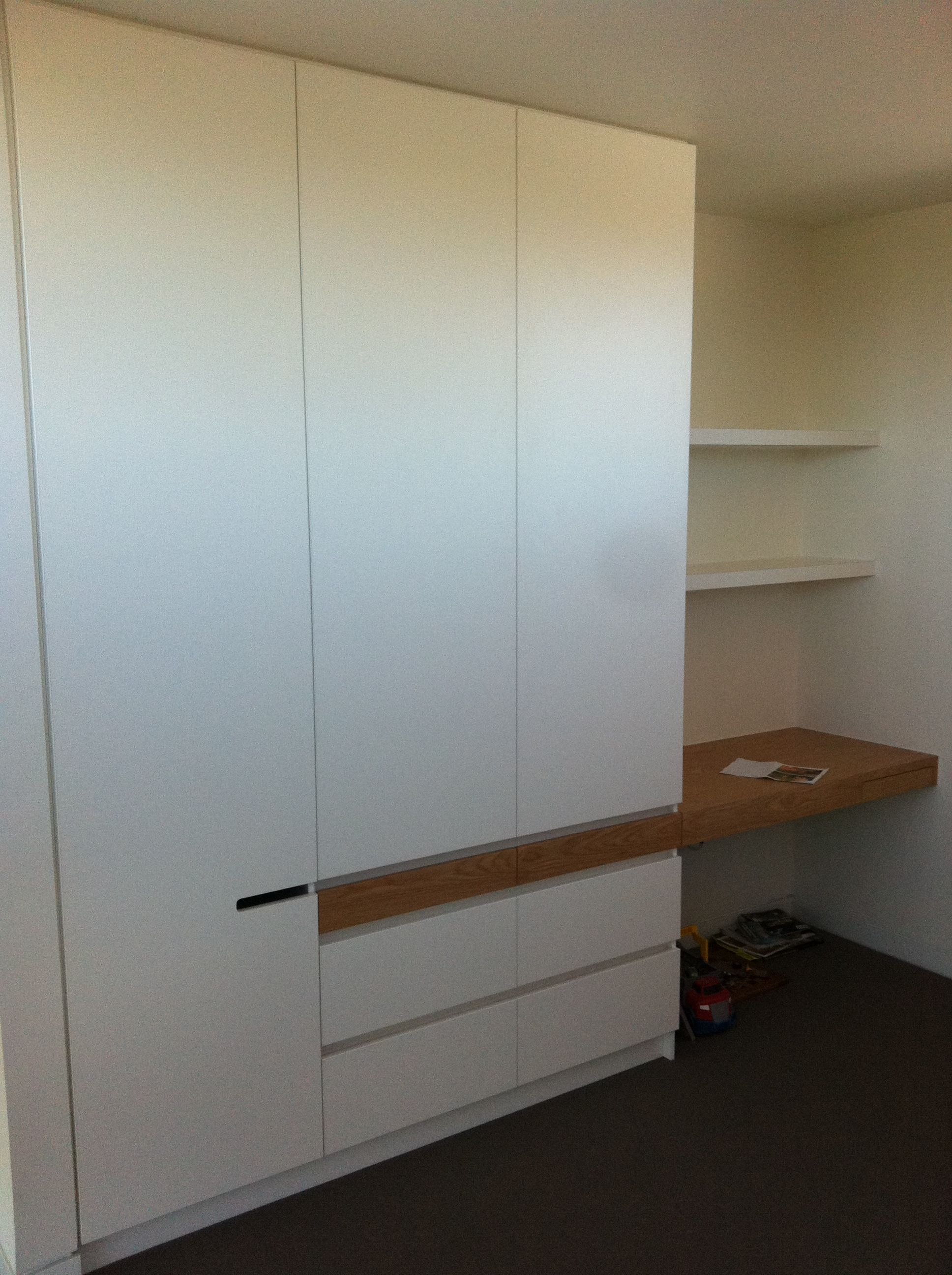 Bedroom Cupboard Study White Melamine Doors With 2Mm Pvc Edge