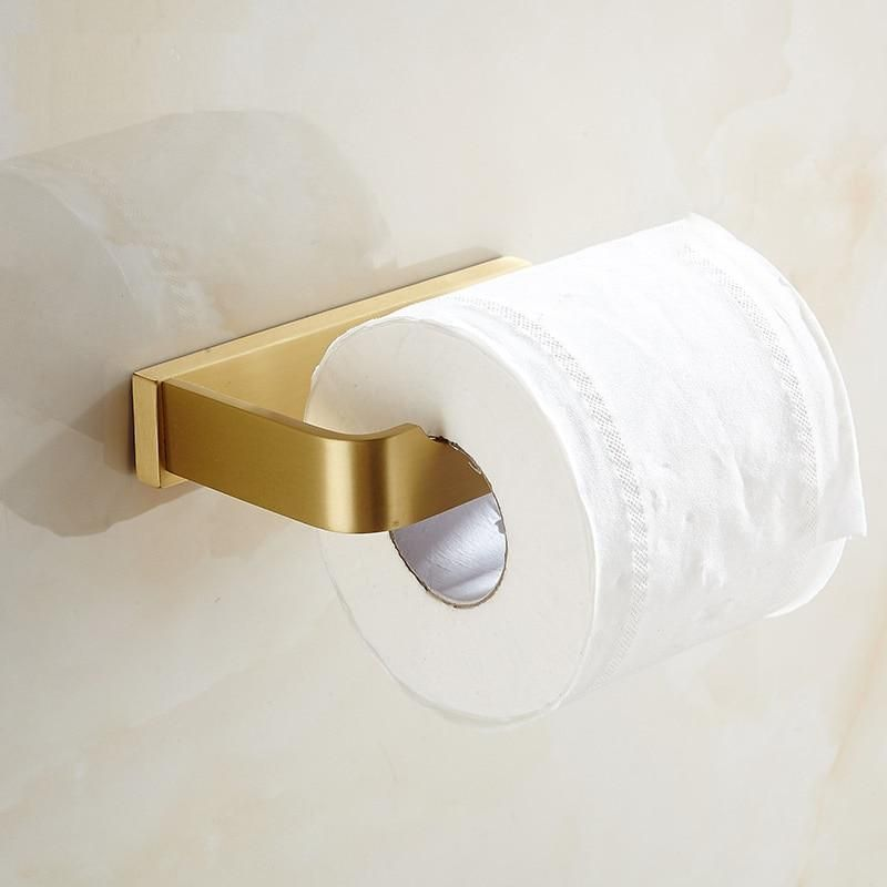 Solid Brass Brushed Gold Toilet Paper Holder Wall Mount Tissue Roll Hanger Brush Go Toilet Paper Holder Toilet Paper Holder Wall Mount Toilet Paper Holder Wall