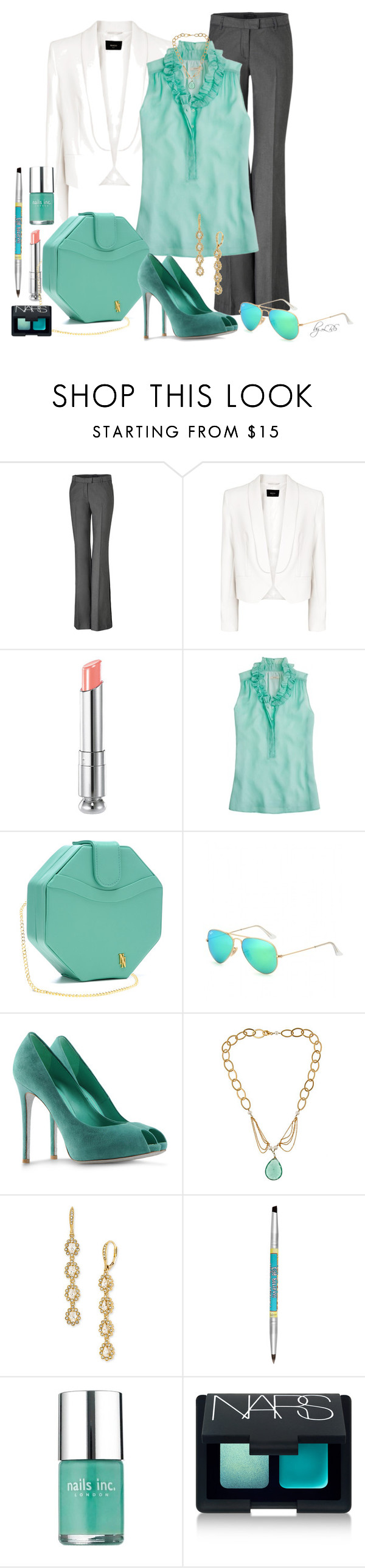 """Turquoise Blue for Work"" by fantasy-closet ❤ liked on Polyvore featuring Rachel Zoe, MANGO, Christian Dior, J.Crew, Nyla Noor, Ray-Ban, René Caovilla, Amanda Rudey, Nadri and TheBalm"