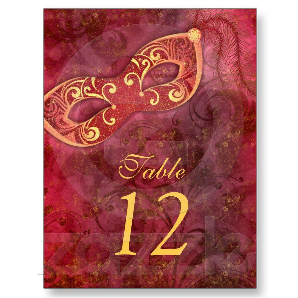 Masquerade Ball Mardi Gras Wedding Table Cards   Wedding table cards ...
