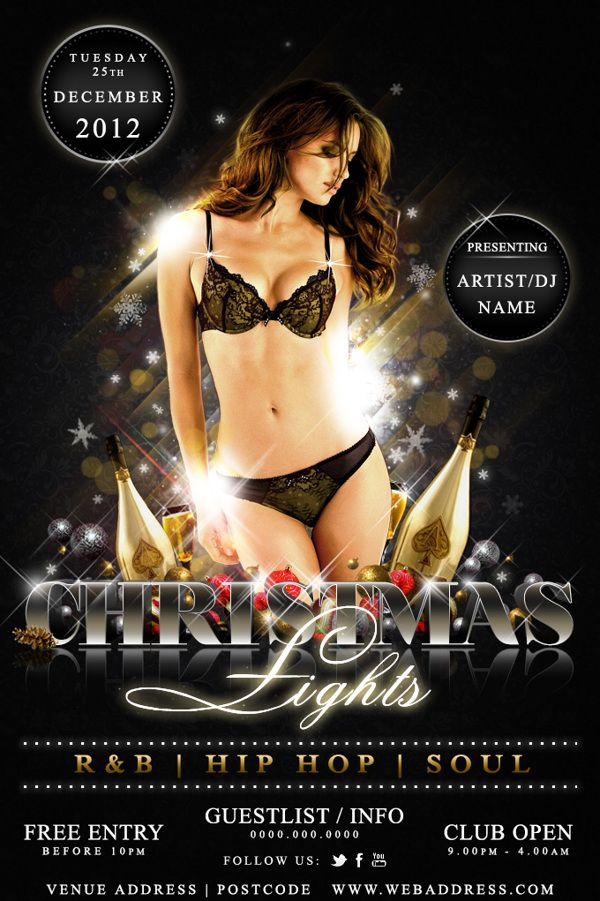 Christmas Nightclub Flyer Template by Jay Lall, via Behance Event
