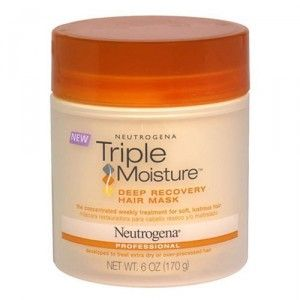 *drugstore brand  Neutrogena Triple Moisture Recovery Hair Mask   Summary: Don't buy. Highly recommended by beauty bloggers, but this had literally zero effect on my thick, dry hair. Full review here http://coffeeandirony.org/2011/11/07/product-review-neutrogena-triple-moisture/