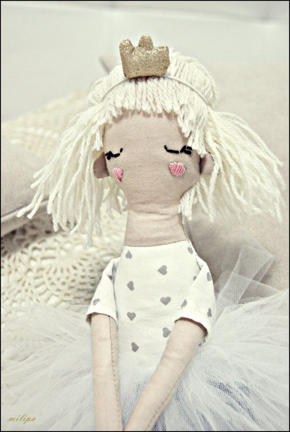 LITTLE PRINCESS rag doll stuffed doll cloth doll by milipa on Etsy