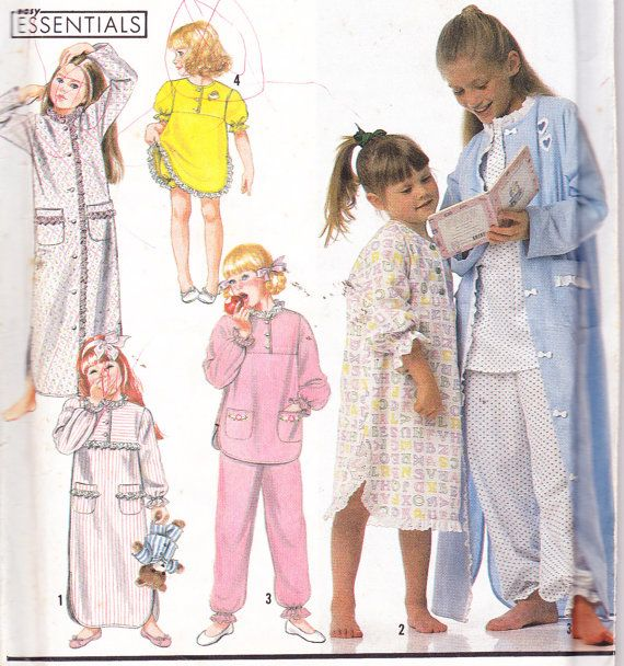 de26d8620 1990 s Children s Nightgowns Pajamas and Robe Sewing Pattern ...