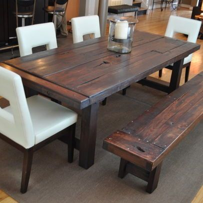 Round Distressed Wood Kitchen Tables Table Dark Rustic Diy ...
