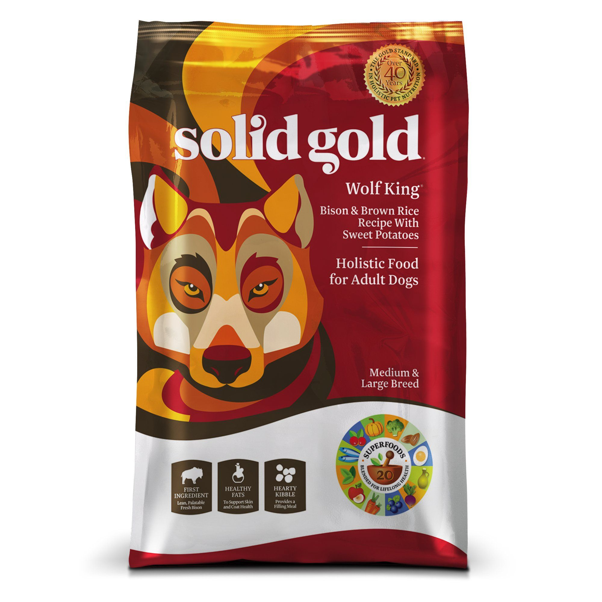 Solid Gold Wolf King Bison Brown Rice Sweet Potatoes Adult Dog