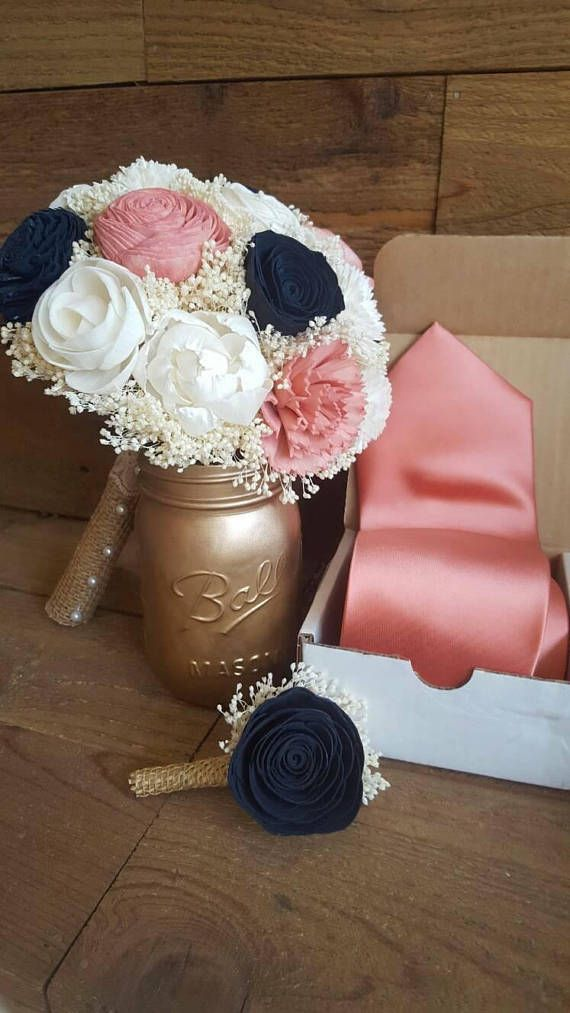 Custom Navy and Coral Sola Wood Flower Bouquet dried Flowers | Sola ...