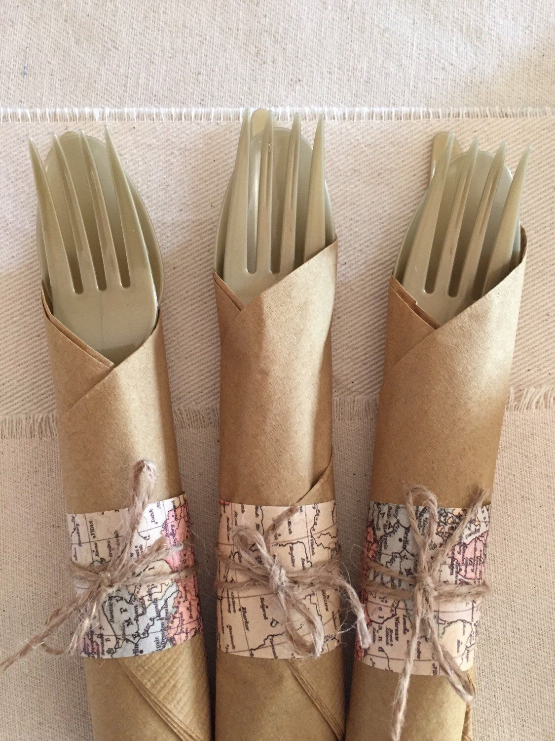 Set of 16 travel theme plastic silverware and napkin sets by lovestrungshop on Etsy https://www.etsy.com/listing/229349732/set-of-16-travel-theme-plastic