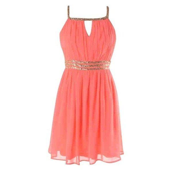 Coral Sequin Dress (£37) ❤ liked on Polyvore featuring dresses, short dresses, vestidos, red cocktail dress, red sequin dress, short coral dresses and red dress