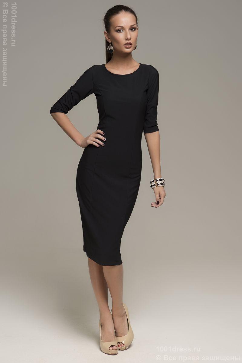 Платье-карандаш в стиле 50-х с рукавом 34 Миа, Черное | Одежда ...