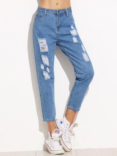 Pantalon Bolsillos Rotos Denim Azul Denim Jeans Ripped Slim Denim Ripped Boyfriend Jeans