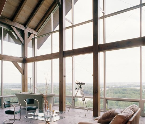 Curtain Wall Framing : Glass curtain wall timber framing and recycled salvaged