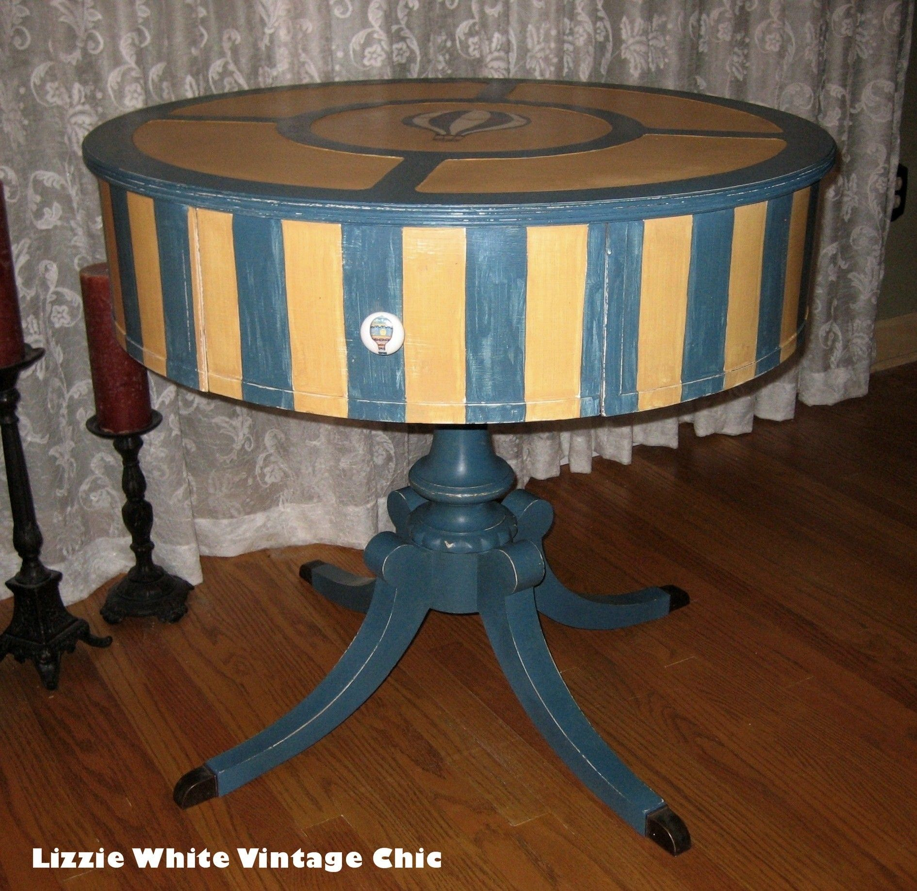 Vintage Drum Table given a whole new