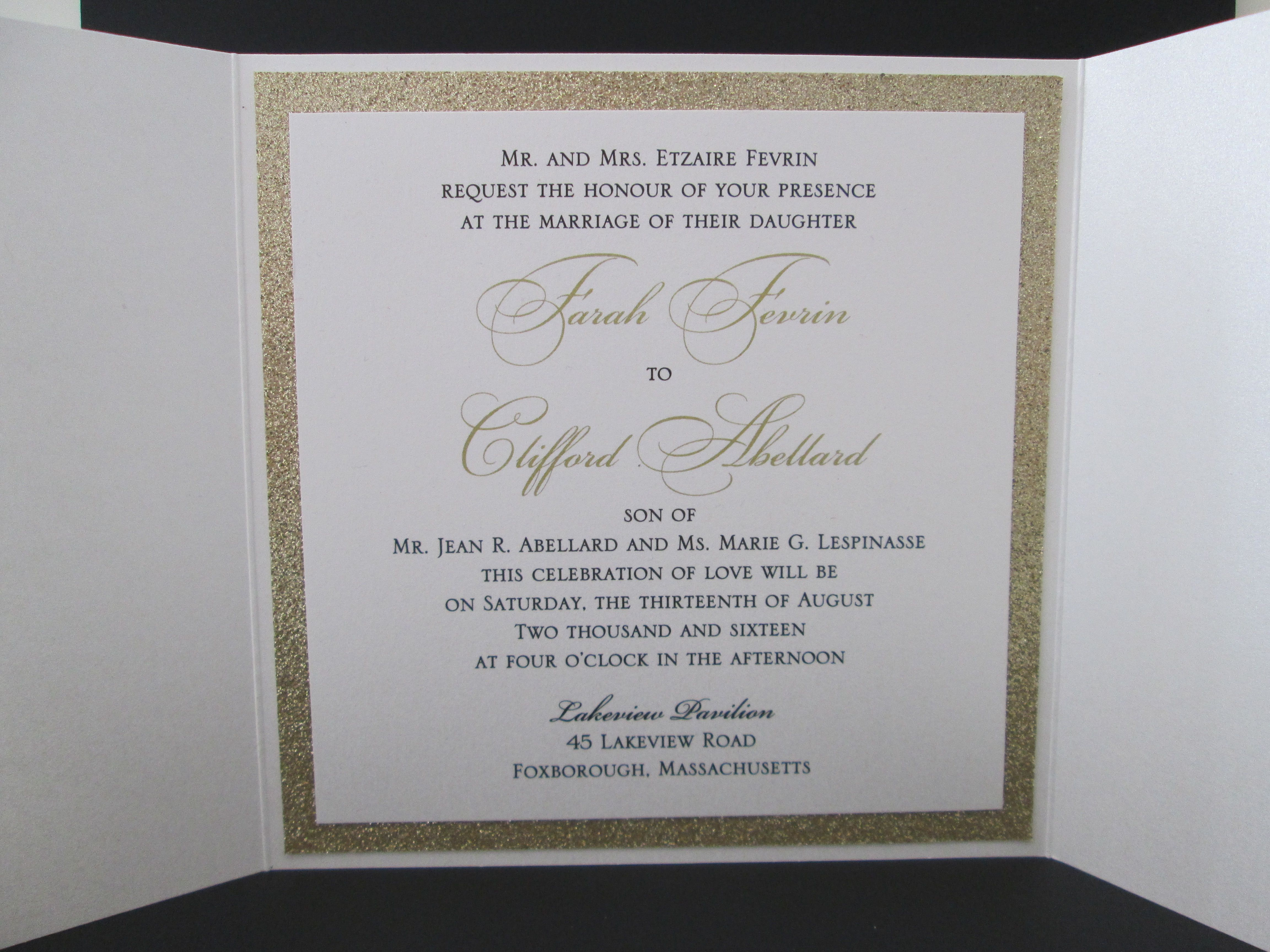white and gold gate fold invitation with gold foil printing