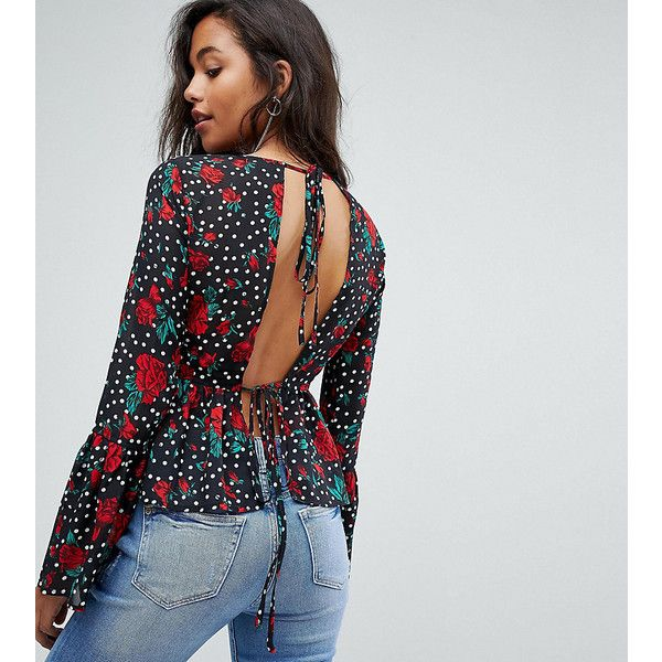 b304e9df255 PrettyLittleThing Floral Polka Dot Tie Back Blouse ( 31) ❤ liked on  Polyvore featuring tops