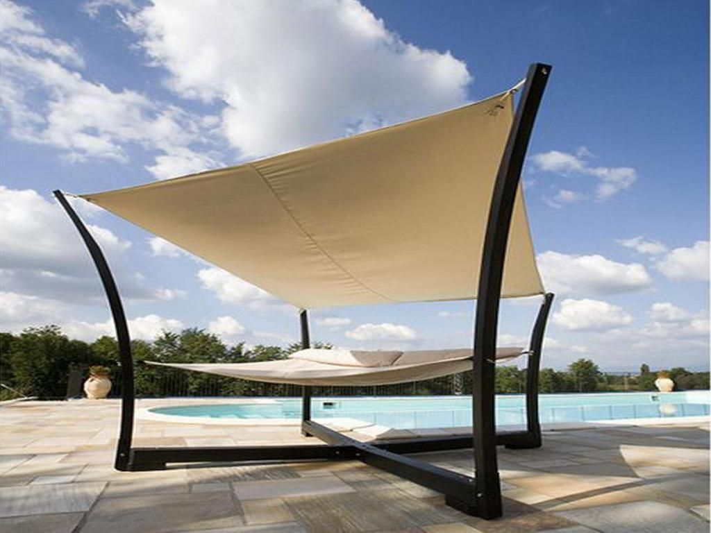 Outdoor Furniture Stunning Canopy Bed Design With Beautiful Cross Frame  Shape And White Hammock And Hanging