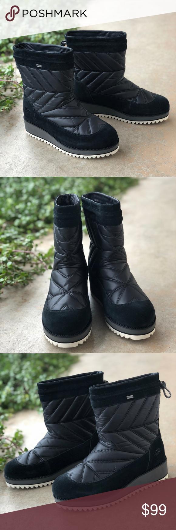 0a37f5fa9a2 UGG Black Beck Waterproof Quilt Puffer Boots Features: Waterproof ...