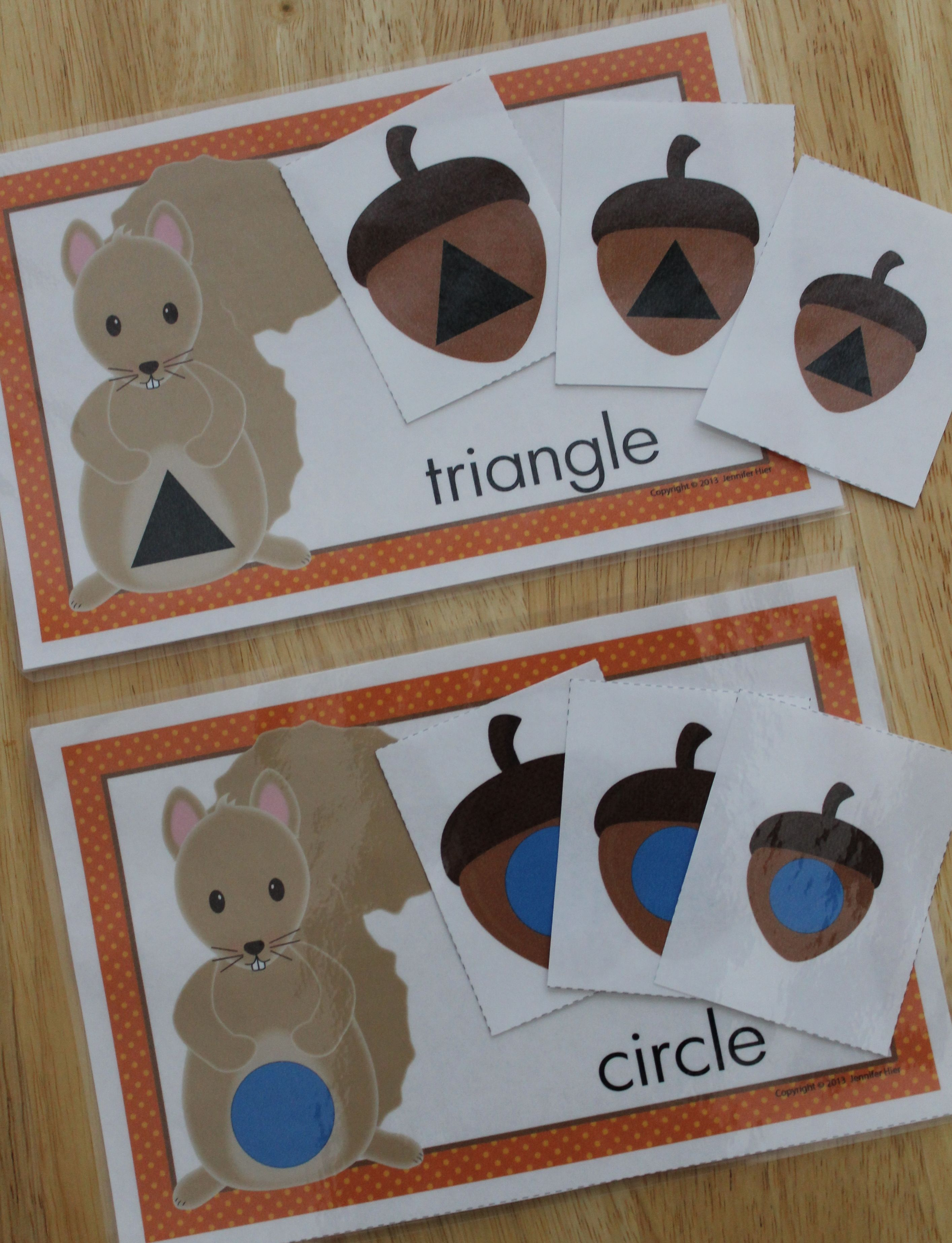 Shape Sorting Squirrel And Acorn Shape Sort For Fall