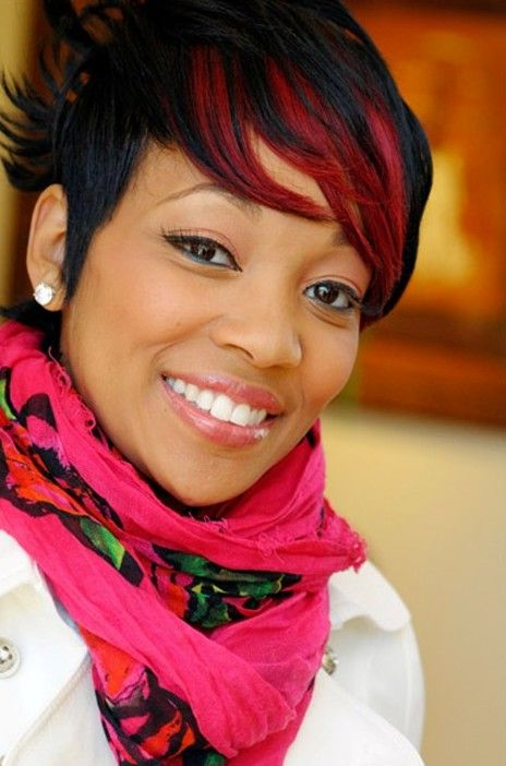 short black hairstyle with fiery red fringe - monica haircut