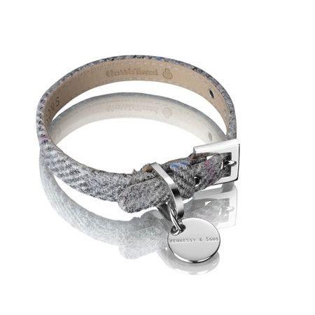 Silver Grey Dog Collar, Handcrafted Harris Tweed Dog Collar, Tweed Dog Collar, luxury pet collar, designer pet collar
