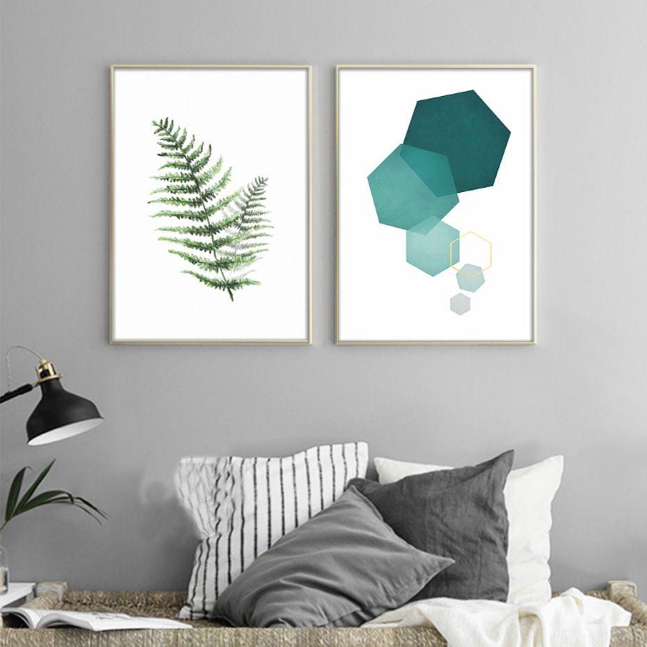 Abstract Landschap Geometrie Canvas Schilderijen Moderne Nordic ...
