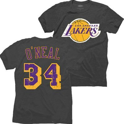 Los Angeles Lakers Nba Shaquille O Neal 34 Name Number Triblend T Shirt Black Shaquille O Neal Los Angeles Lakers Sport Outfits