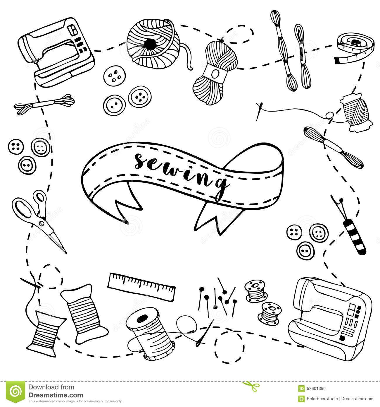 Sewing doodle hand drawn stock vector. Illustration of