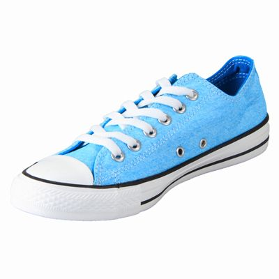 NUOVO ALL STAR CONVERSE Chucks Low Can sneakers neon blu 136583c