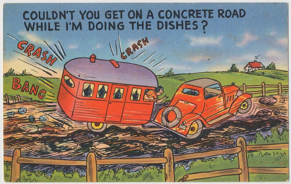 Bouncing Along in Our Travel Camper Trailer Vintage Comic