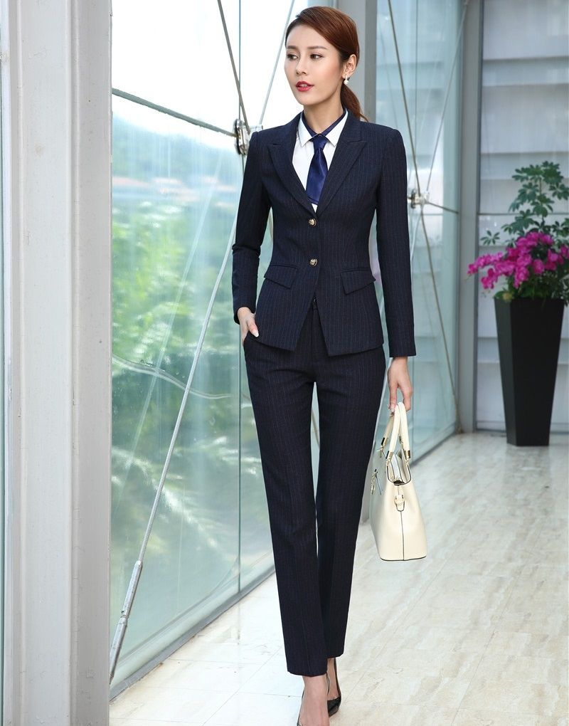 Suits & Sets 3 Piece Waistcoat Pant And Jacket Sets Formal Women Business Suits Blue Striped Blazers Vest Ladies Work Wear Uniforms